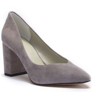 1.State Saffy Gray Pointed Toe Block Heels